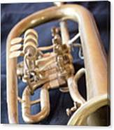 Used Old Trumpet. Vertically. Canvas Print