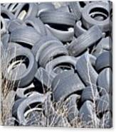 Used Tires At Junk Yard Canvas Print