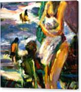 Using Her Beach Towel Canvas Print