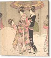 Utagawa Toyokuni I    Courtesans And Attendants Playing In The Snow Canvas Print