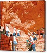 Utah Seventh Graders Climb Up Switchbacks On Wall Street On Navajo Trail In Bryce Canyon National Pa Canvas Print