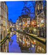 Utrecht From The Bridge By Night Canvas Print