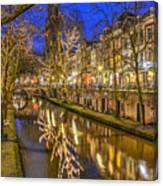 Utrecht Old Canal By Night Canvas Print