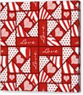 Valentine 4 Square Quilt Block Canvas Print