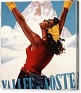 Vallee D'aoste - Aosta Valley, Italy - Retro Travel Poster - Vintage Poster Canvas Print