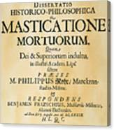 Vampire Book, 1679 Canvas Print