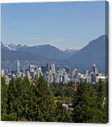 Vancouver Bc City Skyline And Mountains View Canvas Print