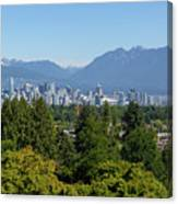Vancouver Bc City Skyline From Queen Elizabeth Park Canvas Print
