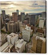 Vancouver Bc Cityscape Aerial View Canvas Print