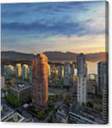Vancouver Bc Cityscape At Sunset Canvas Print
