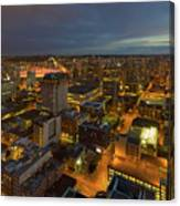 Vancouver Bc Cityscape During Evening Twilight Canvas Print