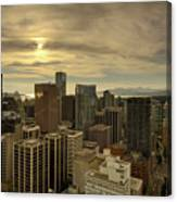 Vancouver Bc Cityscape During Sunset Canvas Print