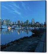 Vancouver Bc Skyline Along Stanley Park Seawall Canvas Print