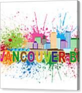 Vancouver Bc Skyline Paint Splatter Text Illustration Canvas Print