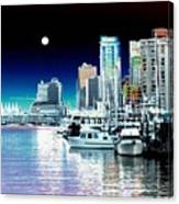 Vancouver Harbor Moonrise  Canvas Print