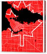 Vancouver Street Map - Vancouver Canada Road Map Art On Canada Flag Symbols Canvas Print