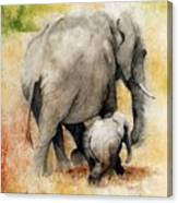 Vanishing Thunder Series - Mama and Baby Elephant Canvas Print