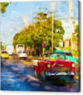 Vintage Cars In Varadero Canvas Print