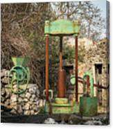 Various Old Rusty Vintage Agricultural Devices In Croatia Canvas Print