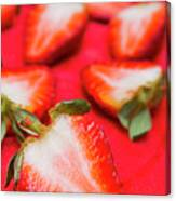 Various Sliced Strawberries Close Up Canvas Print