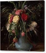 Vase Of Flowers And A Visiting Card Canvas Print