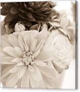 Vase Of Flowers In Sepia Canvas Print