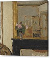 Vase Of Flowers On A Mantelpiece Canvas Print