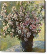 Vase Of Malva Flowers, 1880 Canvas Print