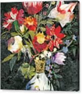 Vase With A Bird Canvas Print