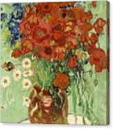 Vase With Daisies And Poppies Canvas Print