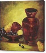 Vase With Fruit Bowl Canvas Print