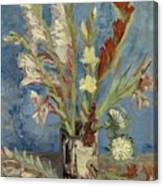 Vase With Gladioli And Chinese Asters Canvas Print