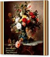 Vase With Roses And Other Flowers L A With Alt. Decorative Ornate Printed Frame. Canvas Print