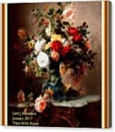 Vase With Roses And Other Flowers L A With Decorative Ornate Printed Frame. Canvas Print
