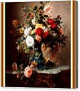 Vase With Roses And Other Flowers L B With Decorative Ornate Printed Frame. Canvas Print