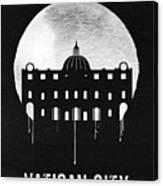 Vatican City Landmark Black Canvas Print