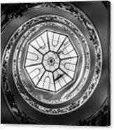 Vatican Staircase Looking Up Black And White Canvas Print