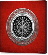 Vegvisir - A Silver Magic Viking Runic Compass On Red Leather  Canvas Print