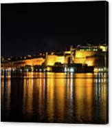 Velvety Reflections - Valletta Grand Harbour At Night Canvas Print