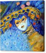 Venetian Carneval Mask With Feathers Canvas Print