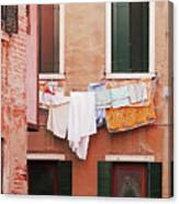 Venetian Laundry In Peach And Pink Canvas Print
