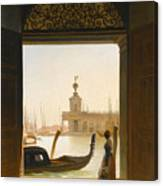 Venice A View Of The Dogana Seen Through A Large Doorway Canvas Print