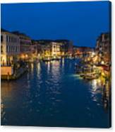 Venice And The Grand Canal In The Evening Canvas Print