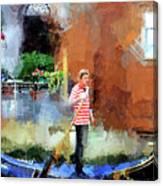 Venice Boat Rider Canvas Print