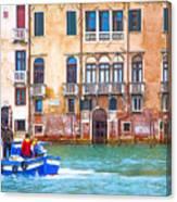 Venice Boat Under The Rain Canvas Print