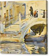 Venice. Bridge With Figures  Canvas Print