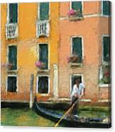 Venice Canal Boat Canvas Print