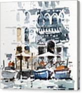 Venice Canal With Barges Canvas Print