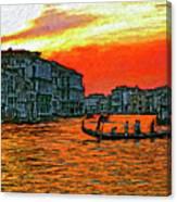 Venice Eventide Impasto Canvas Print