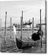 Venice. Gondola. Black And White. Canvas Print